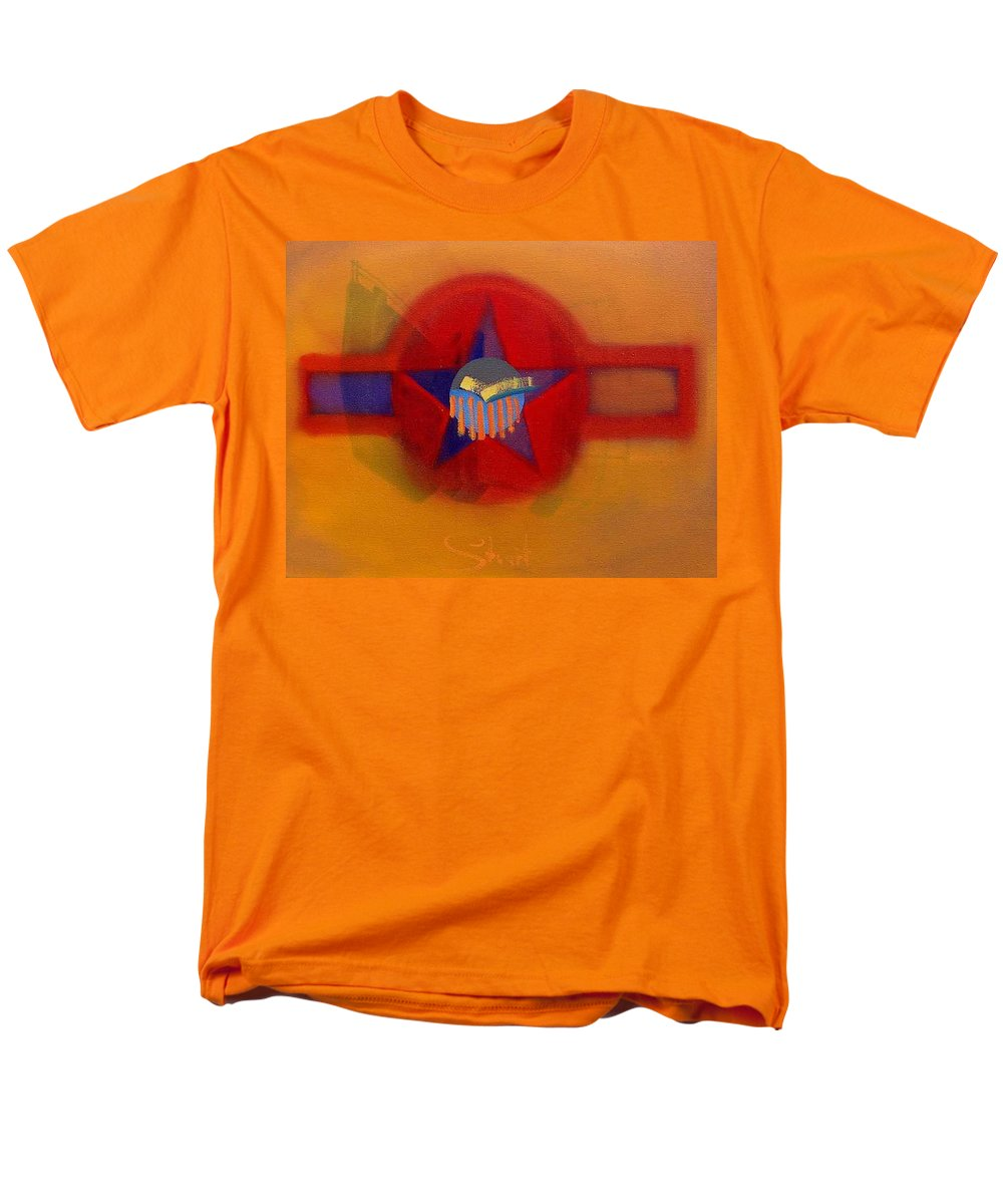 Usaaf Insignia And Idealised Landscape In Union Men's T-Shirt (Regular Fit) featuring the painting American Sub Decal by Charles Stuart