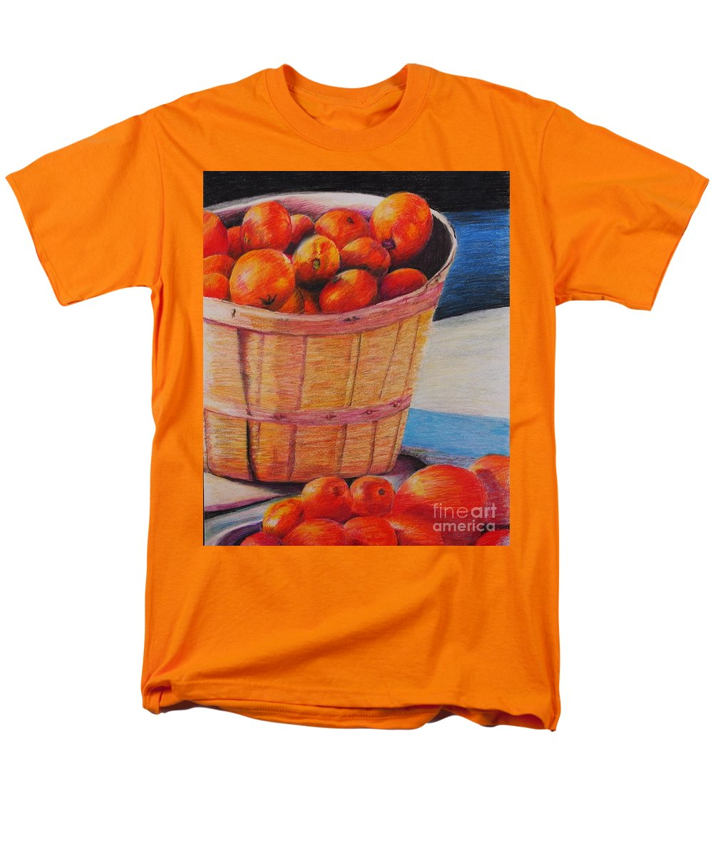 Produce In A Basket Men's T-Shirt (Regular Fit) featuring the drawing Farmers Market Produce by Nadine Rippelmeyer