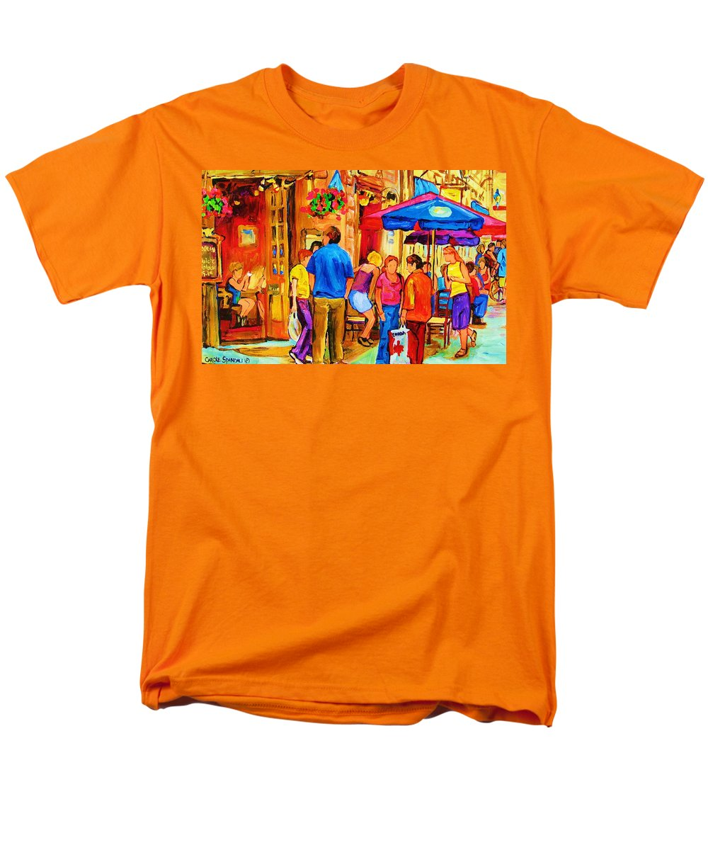 Montreal Cafe Scenes Men's T-Shirt (Regular Fit) featuring the painting Girl In The Cafe by Carole Spandau