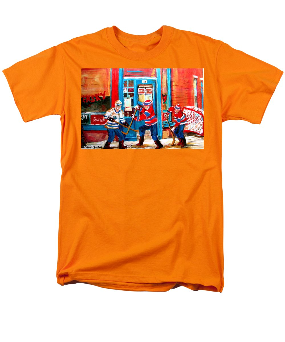 Wilenskys Men's T-Shirt (Regular Fit) featuring the painting Hockey Sticks In Action by Carole Spandau