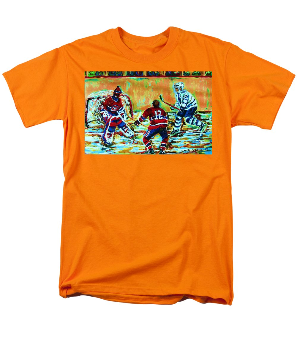 Hockey Canvas Prints Men's T-Shirt (Regular Fit) featuring the painting Jose Theodore The Goalkeeper by Carole Spandau