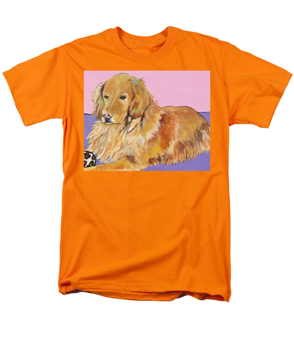 Golden Retriever Men's T-Shirt (Regular Fit) featuring the painting Maya by Pat Saunders-White
