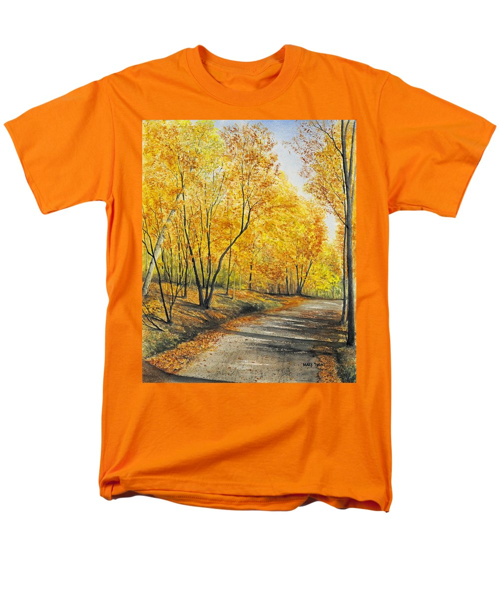 Autumn Men's T-Shirt (Regular Fit) featuring the painting On Golden Road by Mary Tuomi