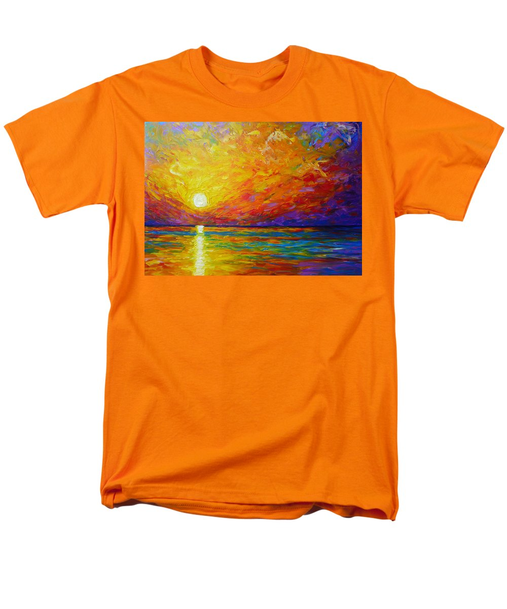 Landscape Men's T-Shirt (Regular Fit) featuring the painting Orange Sunset by Ericka Herazo