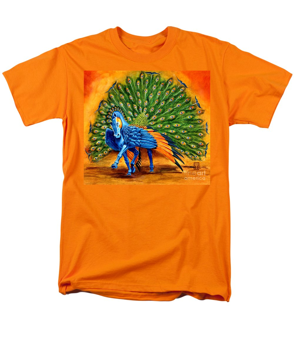 Horse Men's T-Shirt (Regular Fit) featuring the painting Peacock Pegasus by Melissa A Benson