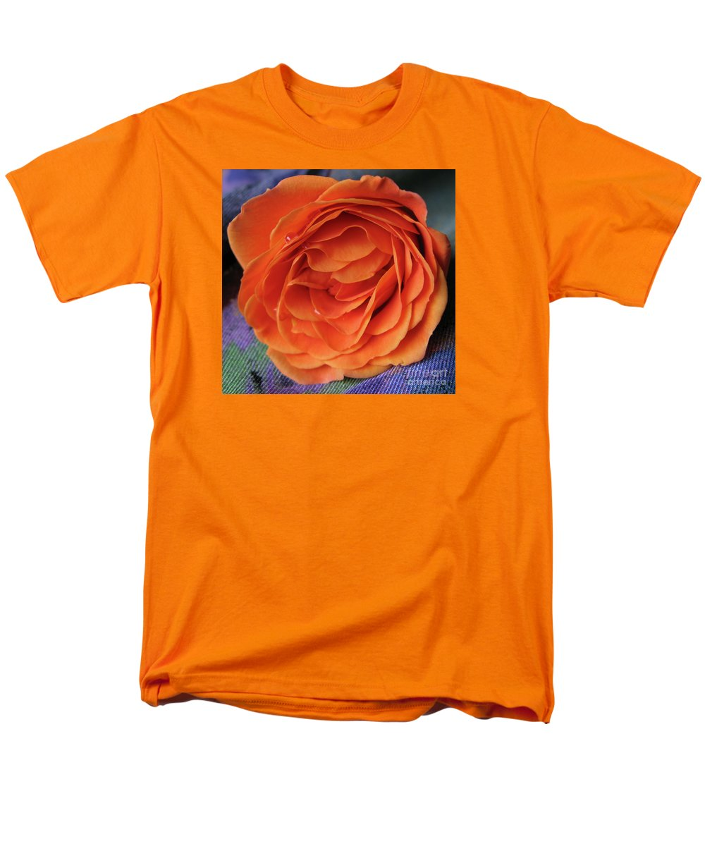 Rose Men's T-Shirt (Regular Fit) featuring the photograph Really Orange Rose by Ann Horn