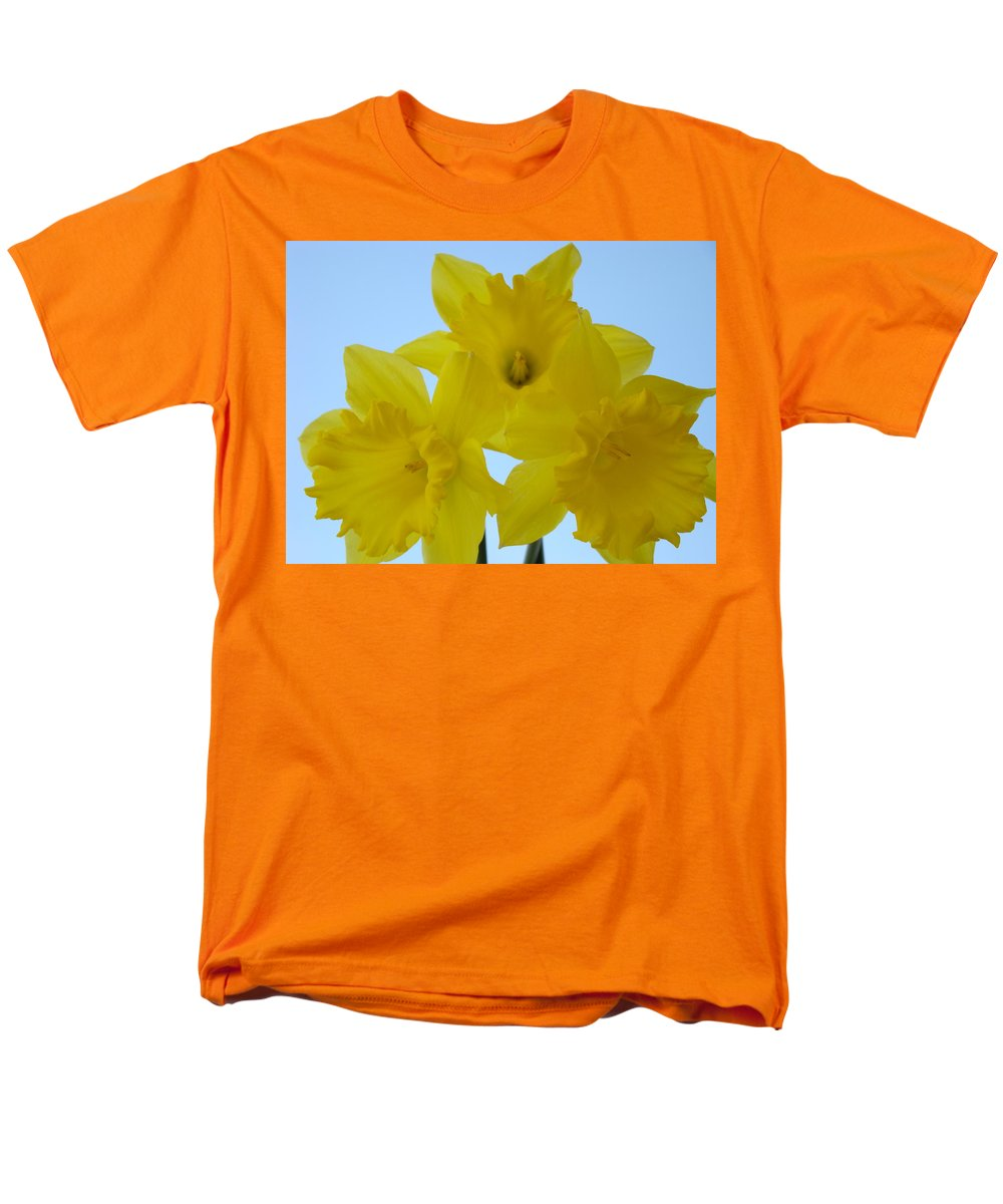 �daffodils Artwork� Men's T-Shirt (Regular Fit) featuring the photograph SPRING DAFFODILS 2 FLOWERS Art Prints Gifts Blue Sky by Patti Baslee