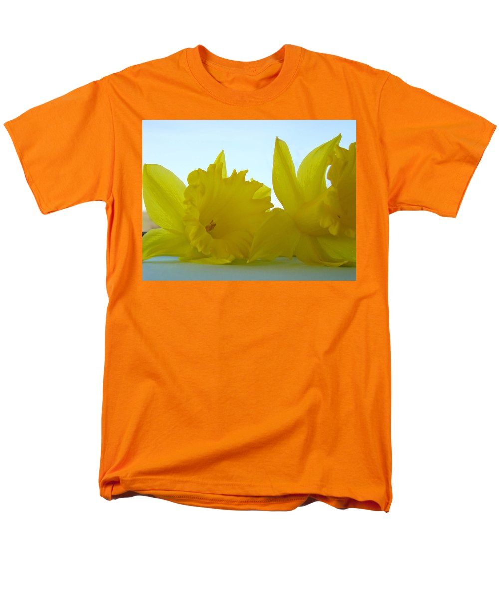 �daffodils Artwork� Men's T-Shirt (Regular Fit) featuring the photograph SPRING DAFFODILS FLOWERS Art Prints Blue Skies by Patti Baslee