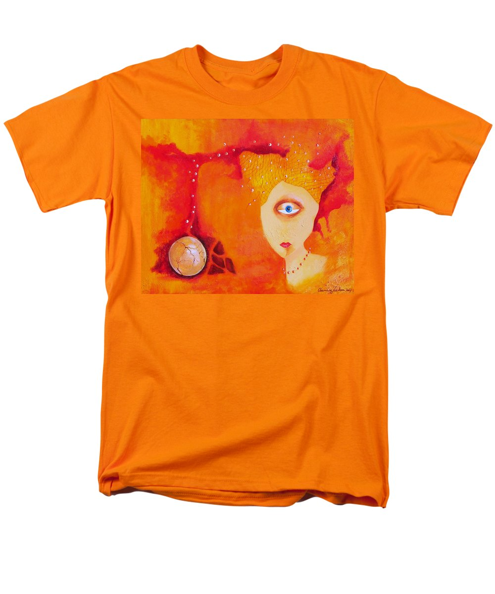 Tangerine Orange Eyes Woman Pearls Thoughts Life Egg Men's T-Shirt (Regular Fit) featuring the painting Tangerine Dream by Veronica Jackson