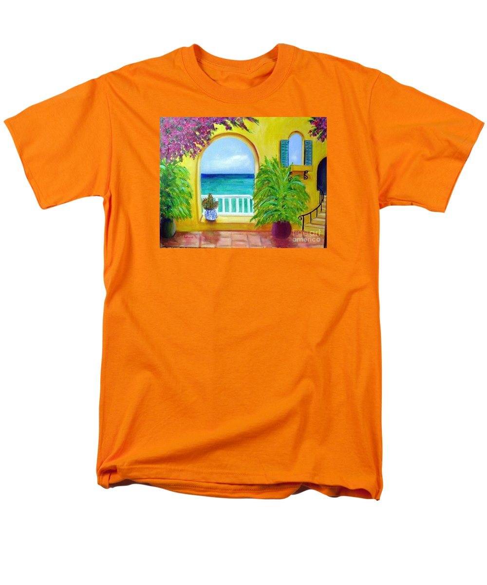 Patio Men's T-Shirt (Regular Fit) featuring the painting Vista Del Agua by Laurie Morgan