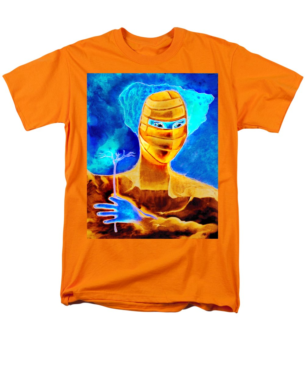 Blue Woman Mask Mistery Eyes Men's T-Shirt (Regular Fit) featuring the painting Woman In The Blue Mask by Veronica Jackson