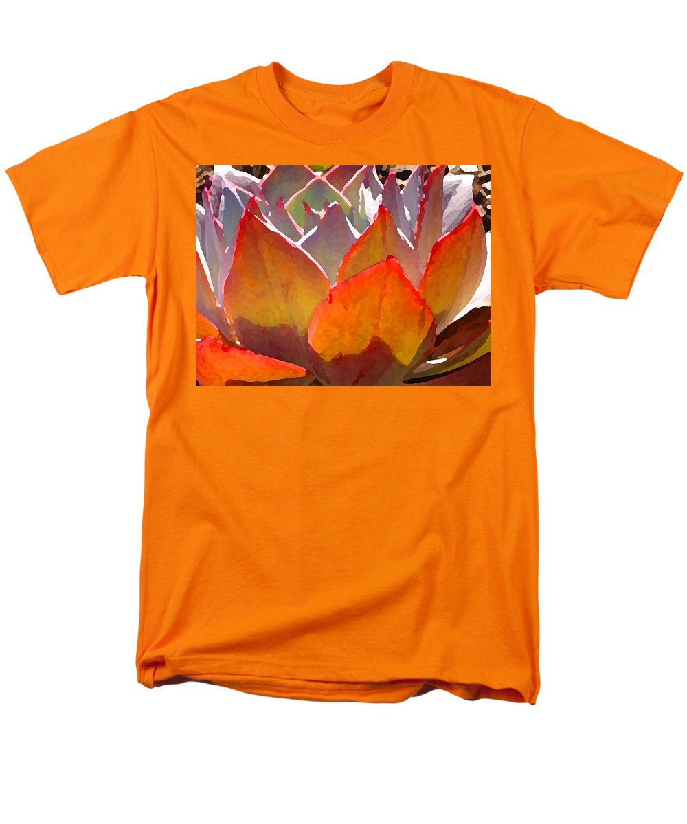 Succulent Men's T-Shirt (Regular Fit) featuring the painting Backlit Afterglow Succulent 2 by Amy Vangsgard