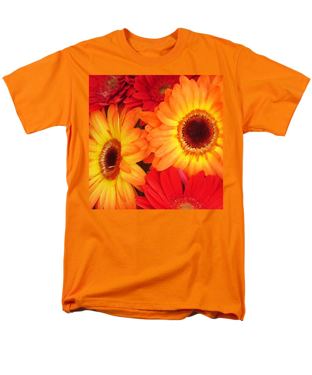 Daisy Men's T-Shirt (Regular Fit) featuring the painting Orange and Red Gerbers by Amy Vangsgard
