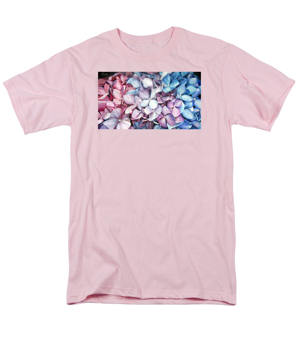 Flowers Nature Blue Violet Macro Men's T-Shirt (Regular Fit) featuring the painting Hortensias by Natalia Tejera