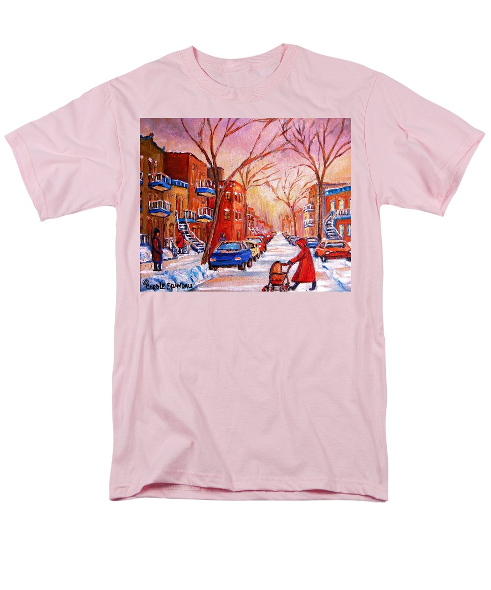 Montreal Men's T-Shirt (Regular Fit) featuring the painting Out for a Walk with Mom by Carole Spandau