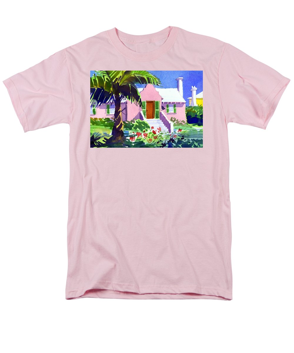 Bermuda Men's T-Shirt (Regular Fit) featuring the painting The Pink Palace by Lee Klingenberg