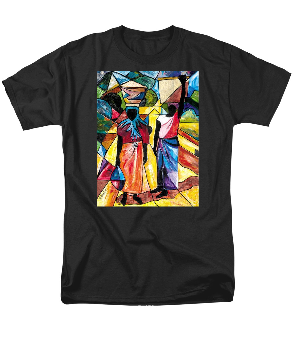 Everett Spruill Men's T-Shirt (Regular Fit) featuring the painting Road to the Market by Everett Spruill