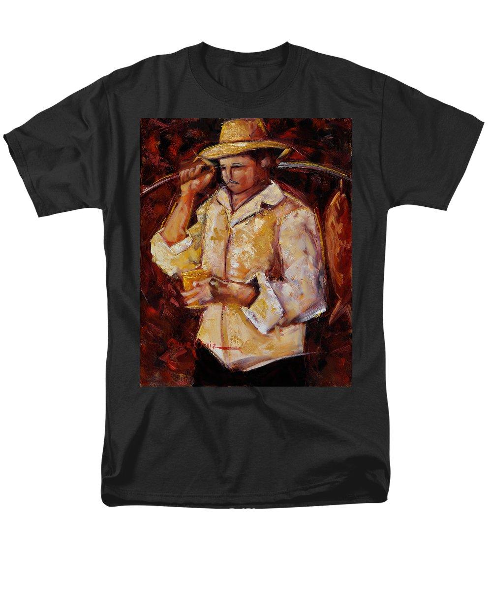 Jibaro Men's T-Shirt (Regular Fit) featuring the painting Jibaro de la costa by Oscar Ortiz