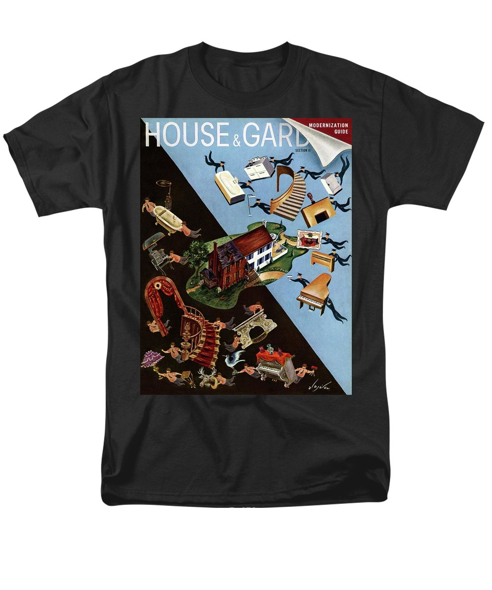Illustration Men's T-Shirt (Regular Fit) featuring the photograph A House And Garden Cover Of People Moving House by Constantin Alajalov