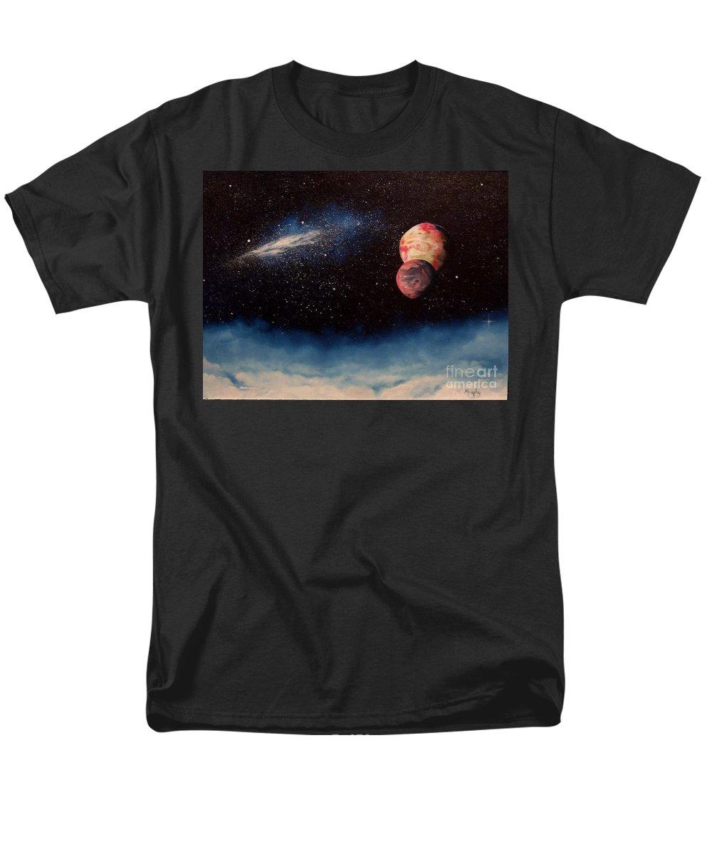 Landscape Men's T-Shirt (Regular Fit) featuring the painting Above Alien Clouds by Murphy Elliott