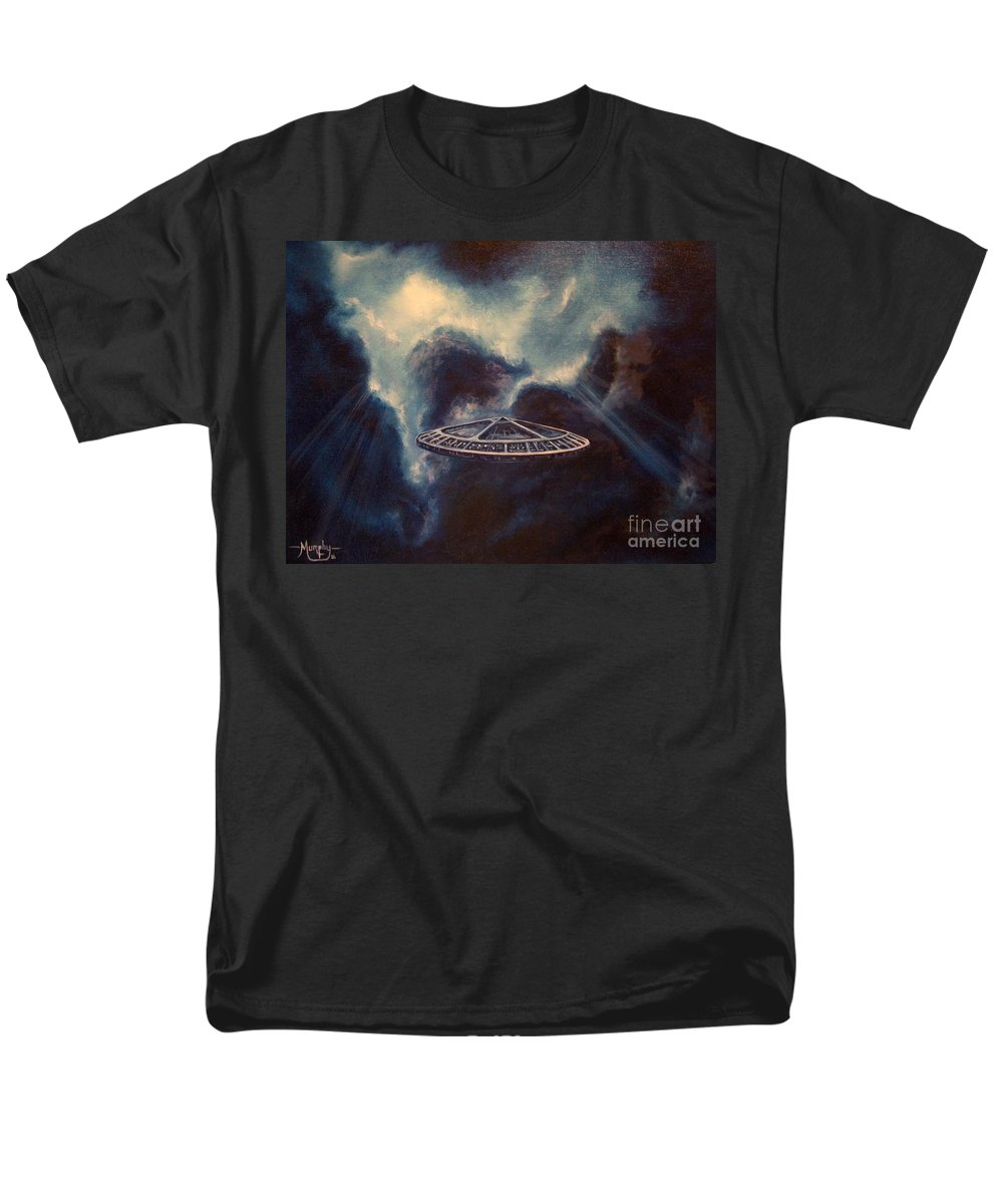 Si-fi Men's T-Shirt (Regular Fit) featuring the painting Atmospheric Arrival by Murphy Elliott