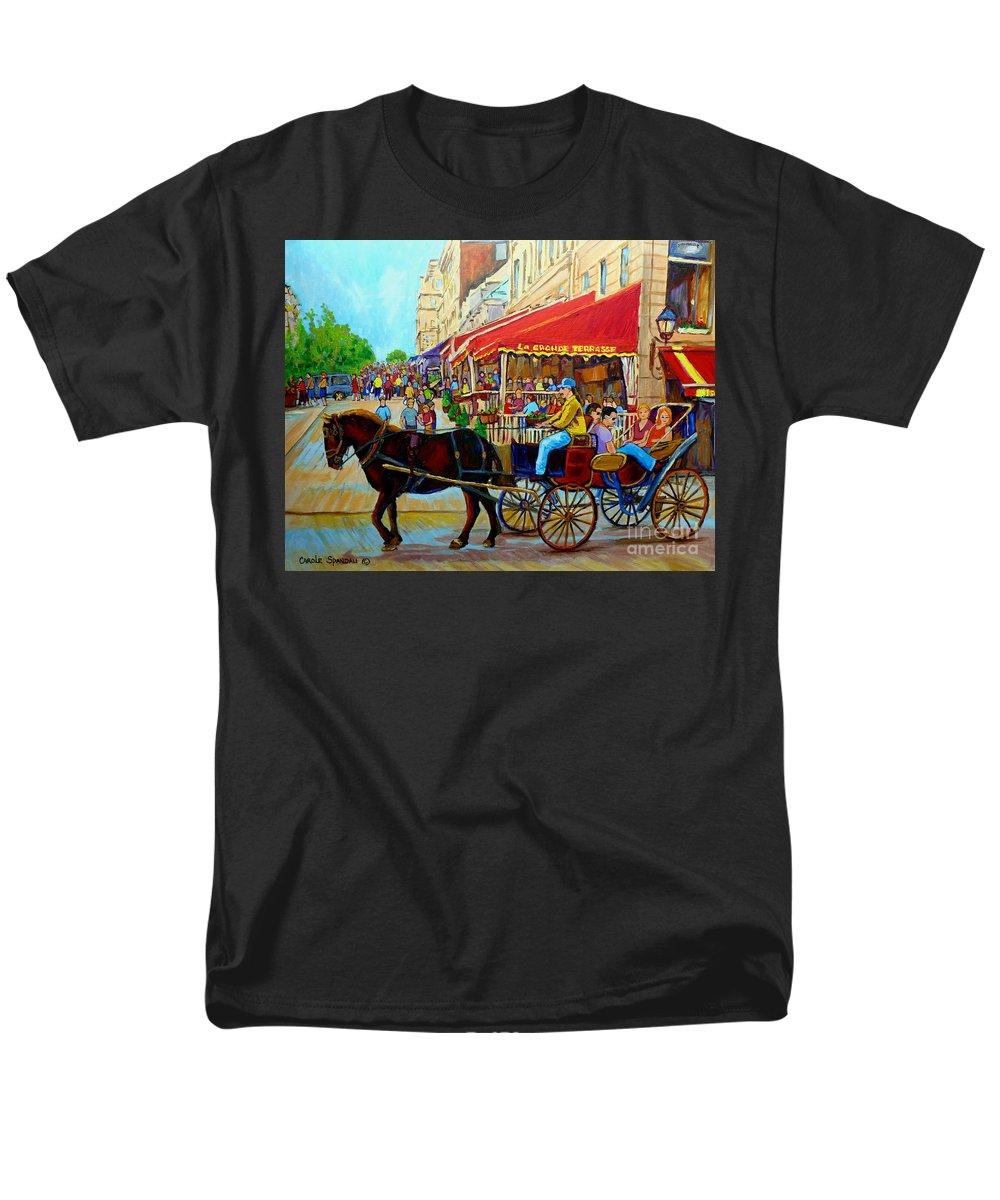 Cafe La Grande Terrasse Men's T-Shirt (Regular Fit) featuring the painting Cafe La Grande Terrasse by Carole Spandau