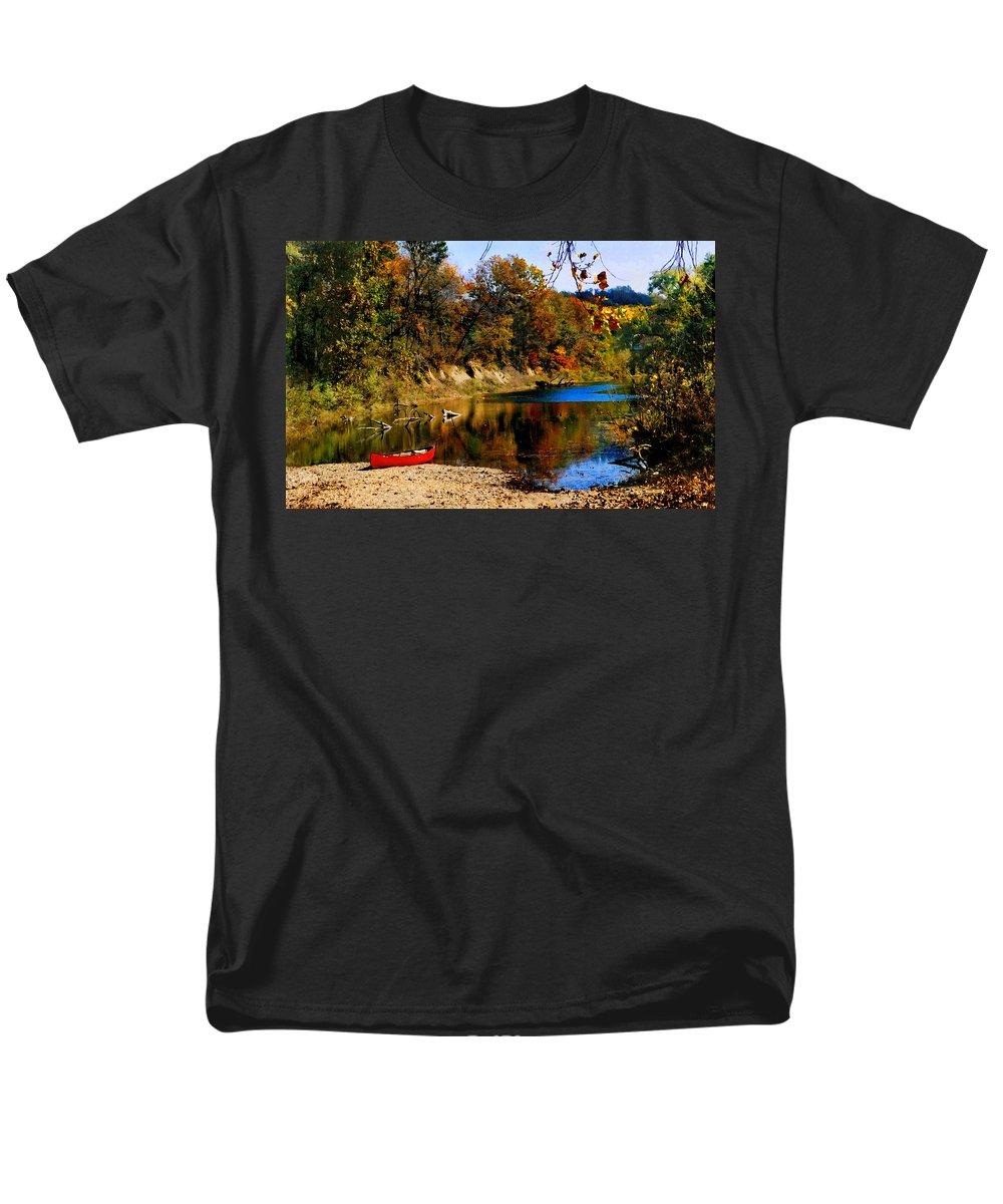 Autumn Men's T-Shirt (Regular Fit) featuring the photograph Canoe On The Gasconade River by Steve Karol