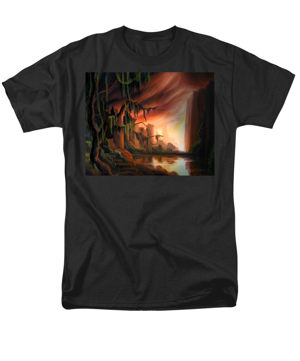 Sunrise Men's T-Shirt (Regular Fit) featuring the painting Cooridor of Light by James Christopher Hill