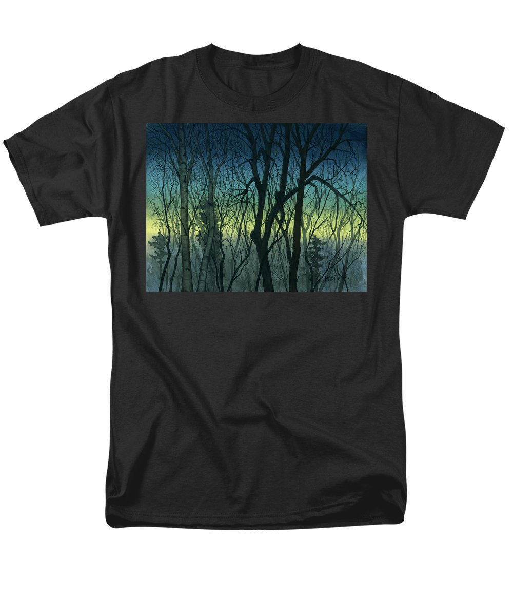 Blue Men's T-Shirt (Regular Fit) featuring the painting Evening Stand by Mary Tuomi