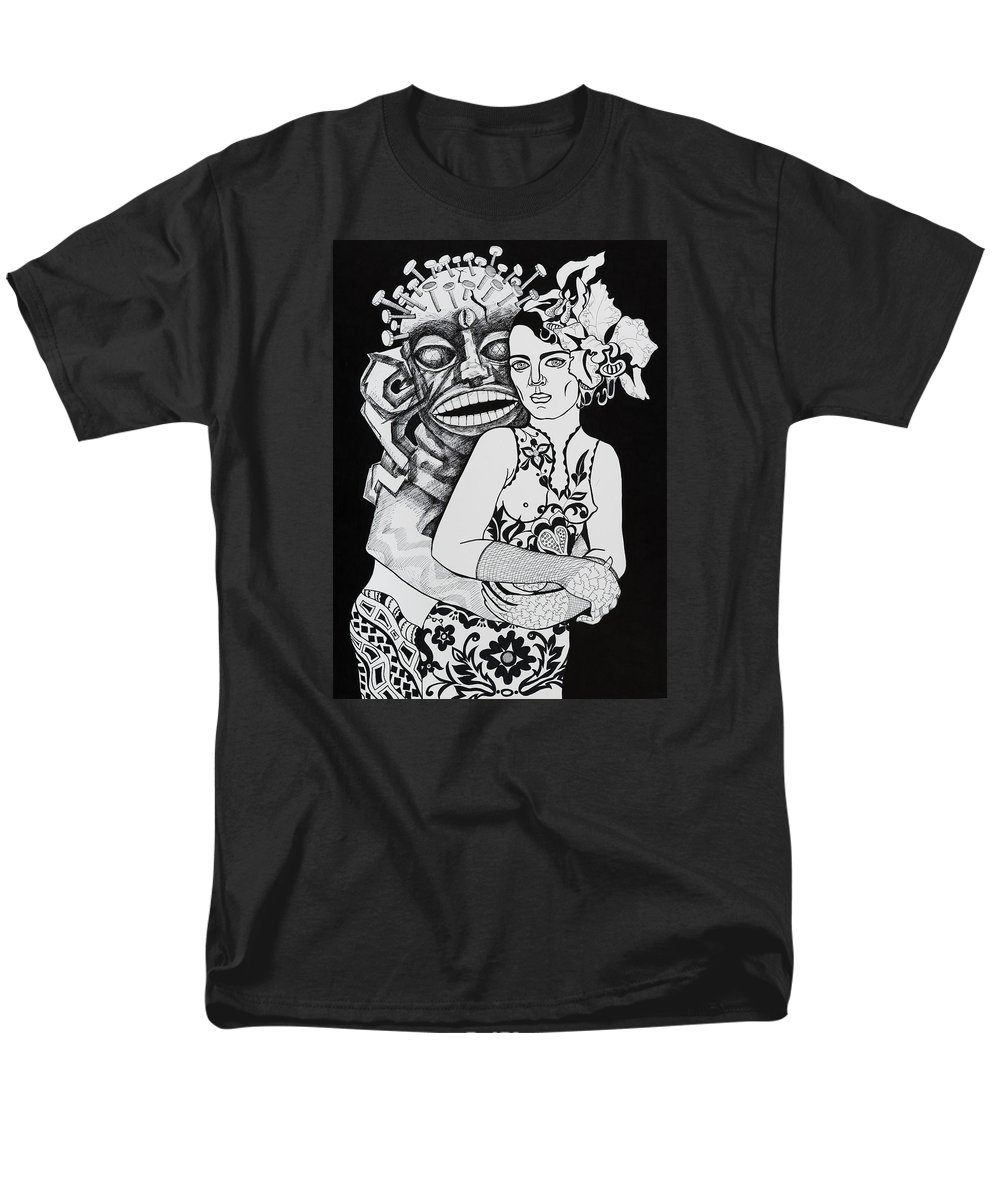 Surreal Men's T-Shirt (Regular Fit) featuring the drawing Fetish Girl by Yelena Tylkina