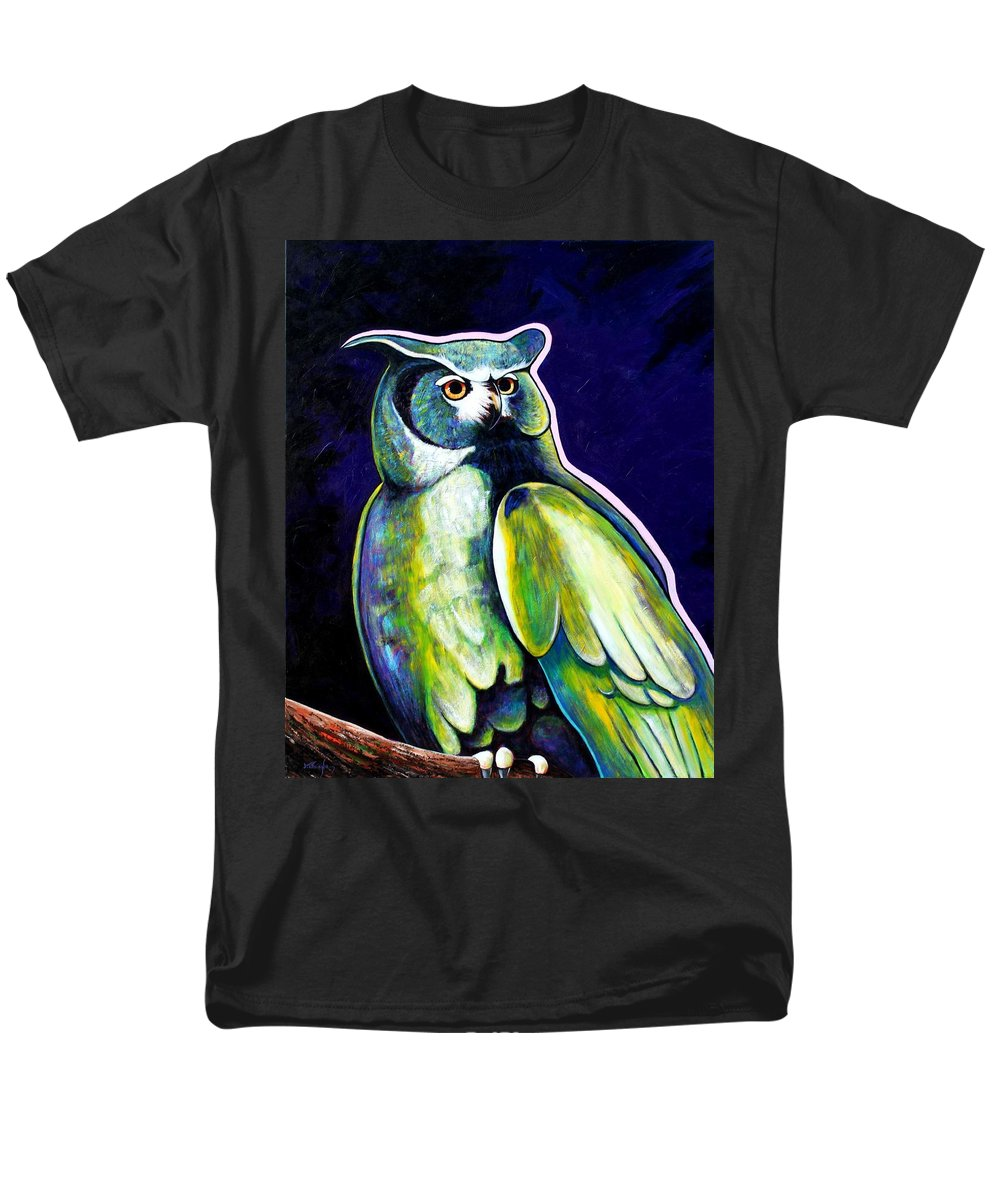 Owl Men's T-Shirt (Regular Fit) featuring the painting From The Shadows by Joe Triano