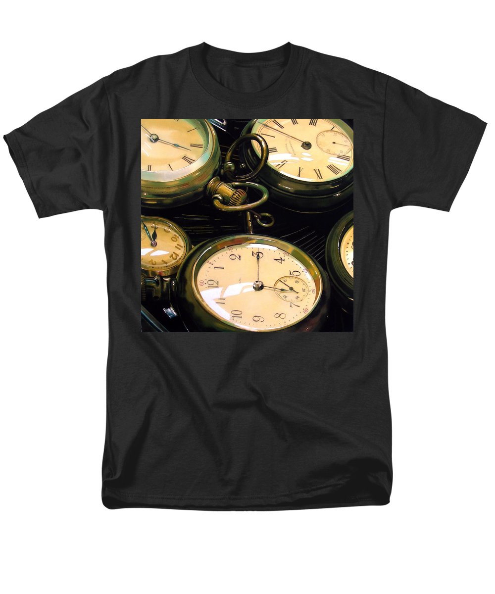 Clocks Men's T-Shirt (Regular Fit) featuring the painting Guardians of Time by Denny Bond