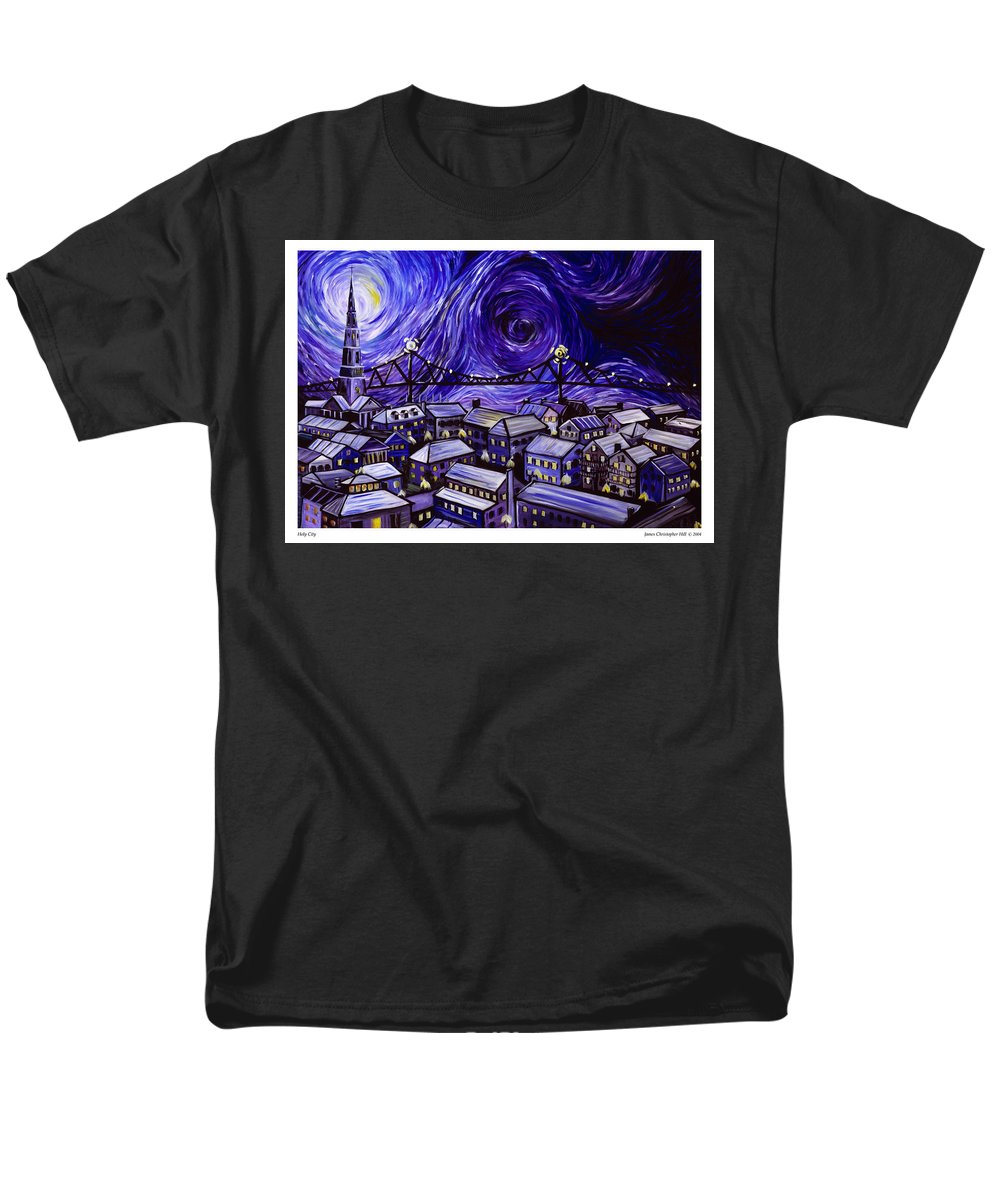 Nature Men's T-Shirt (Regular Fit) featuring the painting Holy City by James Christopher Hill
