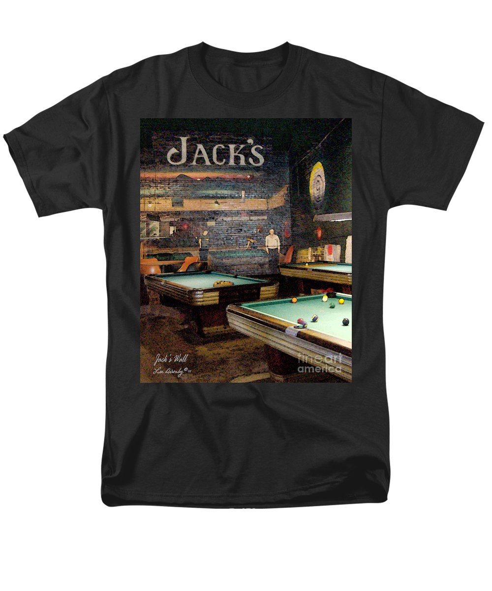 Jacks Pool Room Men's T-Shirt (Regular Fit) featuring the photograph Jack's Wall by Lee Owenby