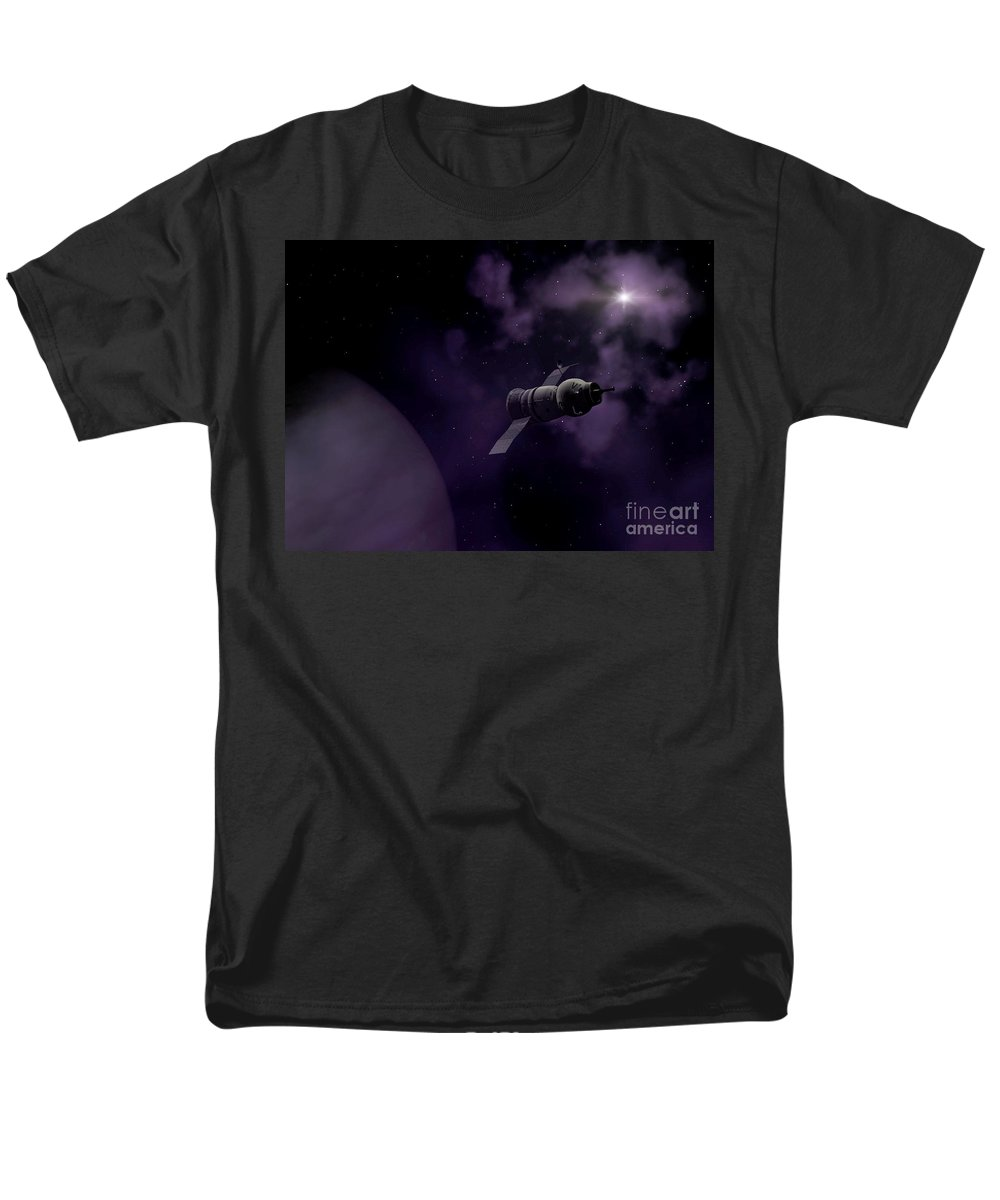Space Men's T-Shirt (Regular Fit) featuring the digital art Jupitor One Exploration by Richard Rizzo