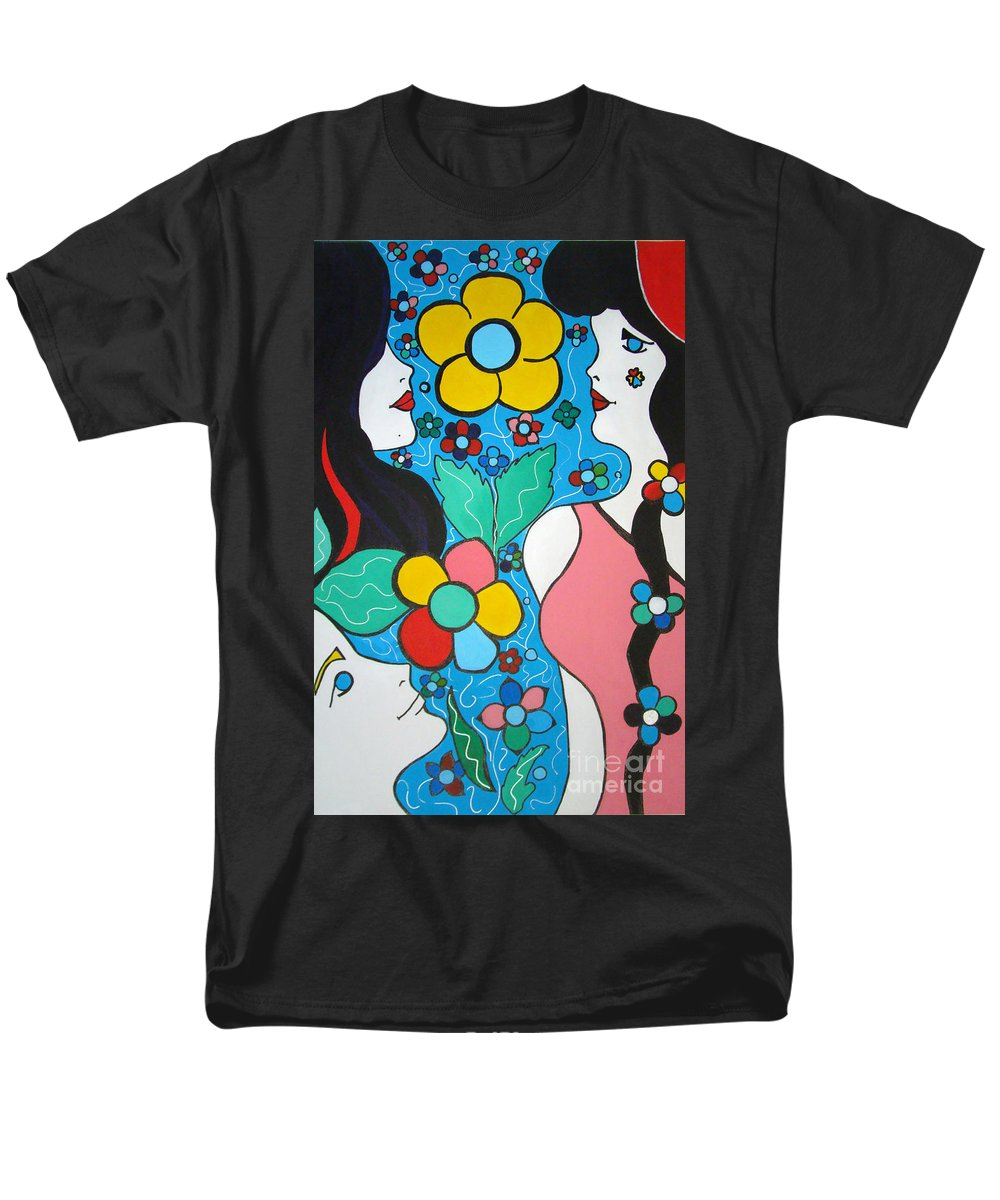 Pop-art Men's T-Shirt (Regular Fit) featuring the painting Life is Beautiful by Silvana Abel