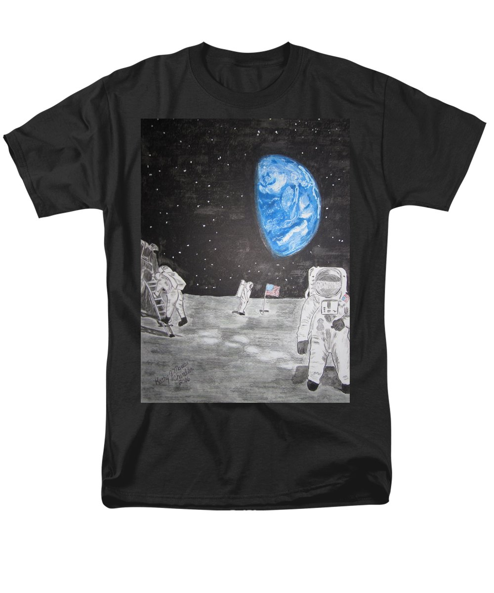 Stars Men's T-Shirt (Regular Fit) featuring the painting Man on the Moon by Kathy Marrs Chandler