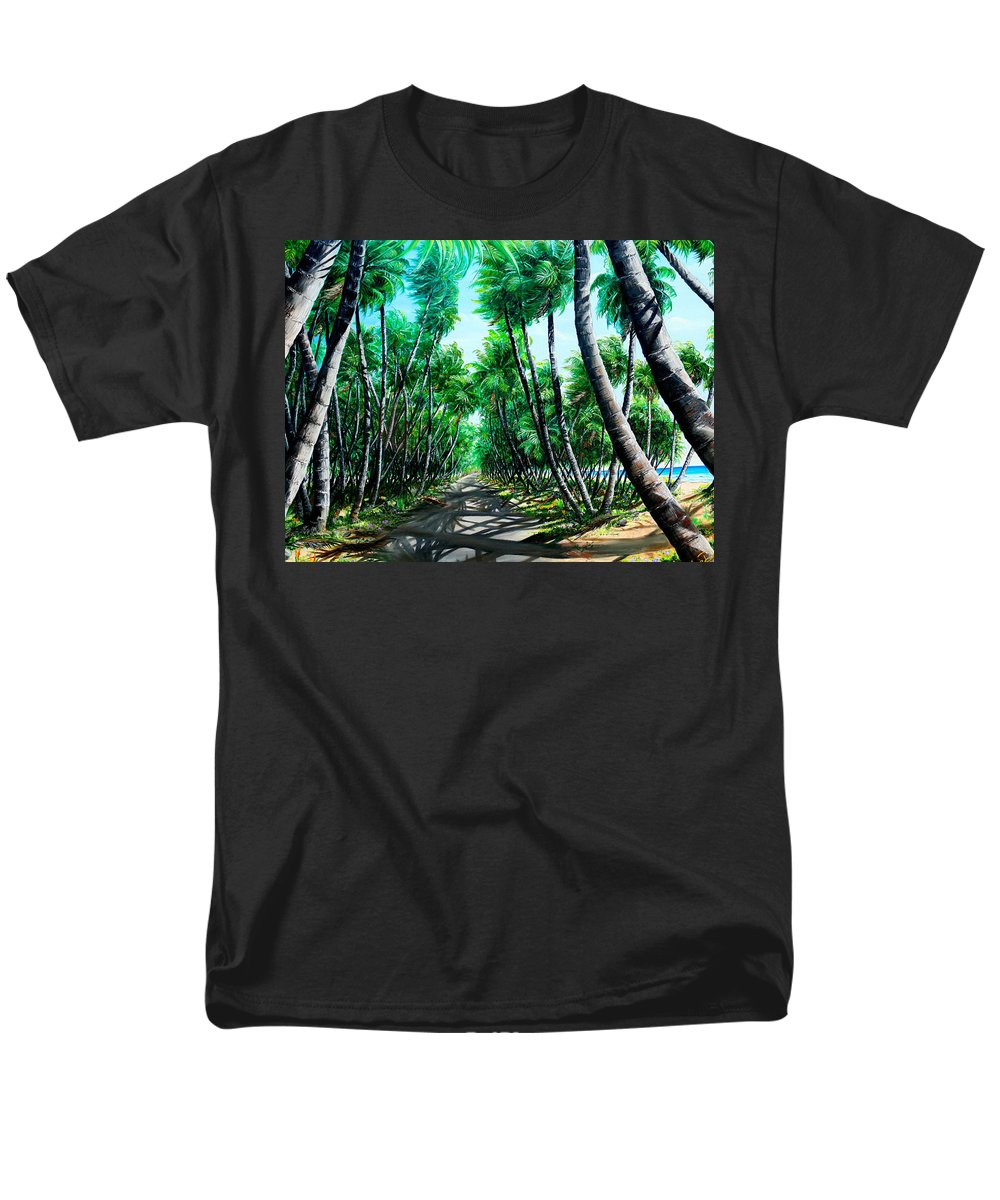 Coconut Trees Men's T-Shirt (Regular Fit) featuring the painting Manzanilla Coconut Estate by Karin Dawn Kelshall- Best