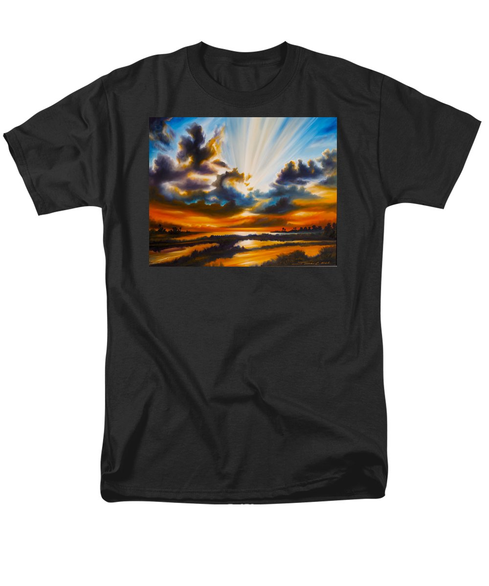 Sunrise Men's T-Shirt (Regular Fit) featuring the painting Paradise by James Christopher Hill