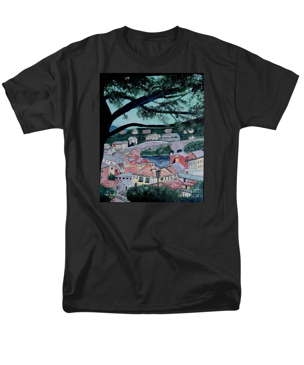 Italy Men's T-Shirt (Regular Fit) featuring the painting Sestri Levante by Laurie Morgan