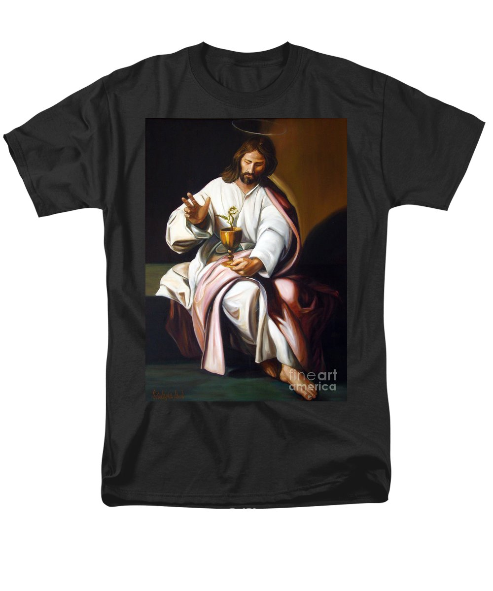 Classic Art Men's T-Shirt (Regular Fit) featuring the painting St John The Evangelist by Silvana Abel