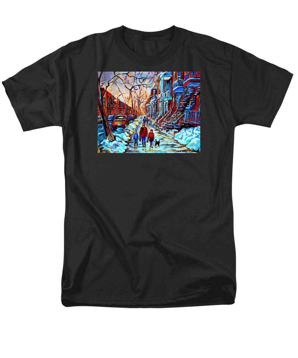 Montreal Men's T-Shirt (Regular Fit) featuring the painting Streets Of Montreal by Carole Spandau