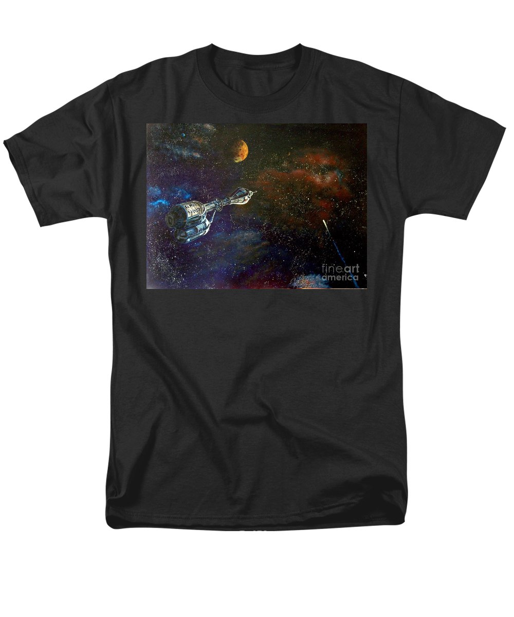 Vista Horizon Men's T-Shirt (Regular Fit) featuring the painting The Search For Earth by Murphy Elliott