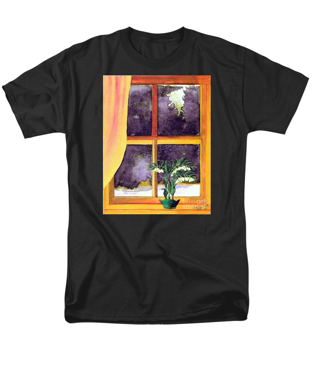 Fine Art Men's T-Shirt (Regular Fit) featuring the painting Through The Window by Patricia Griffin Brett