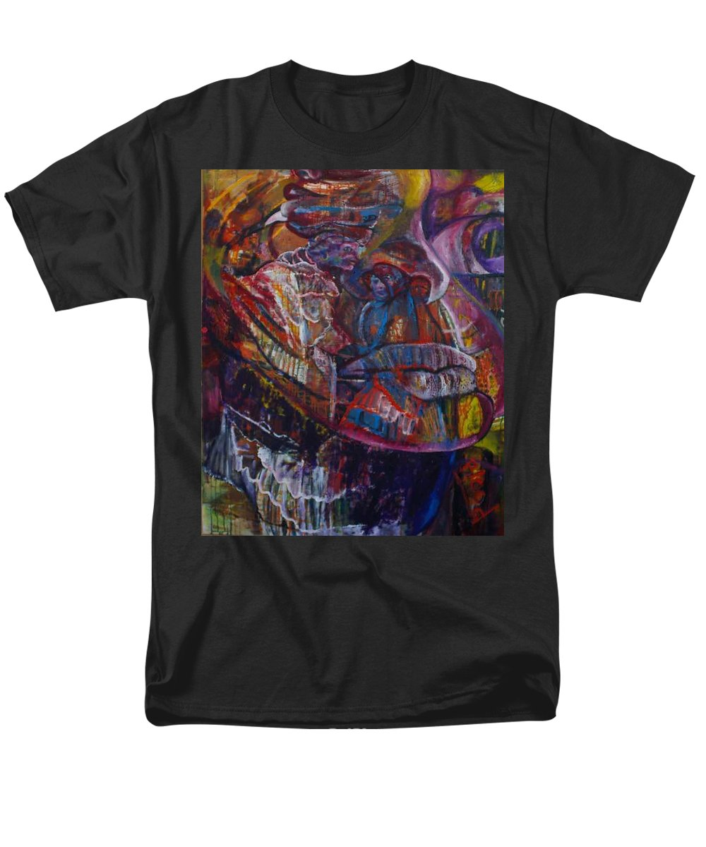 African Women Men's T-Shirt (Regular Fit) featuring the painting Tikor Woman by Peggy Blood