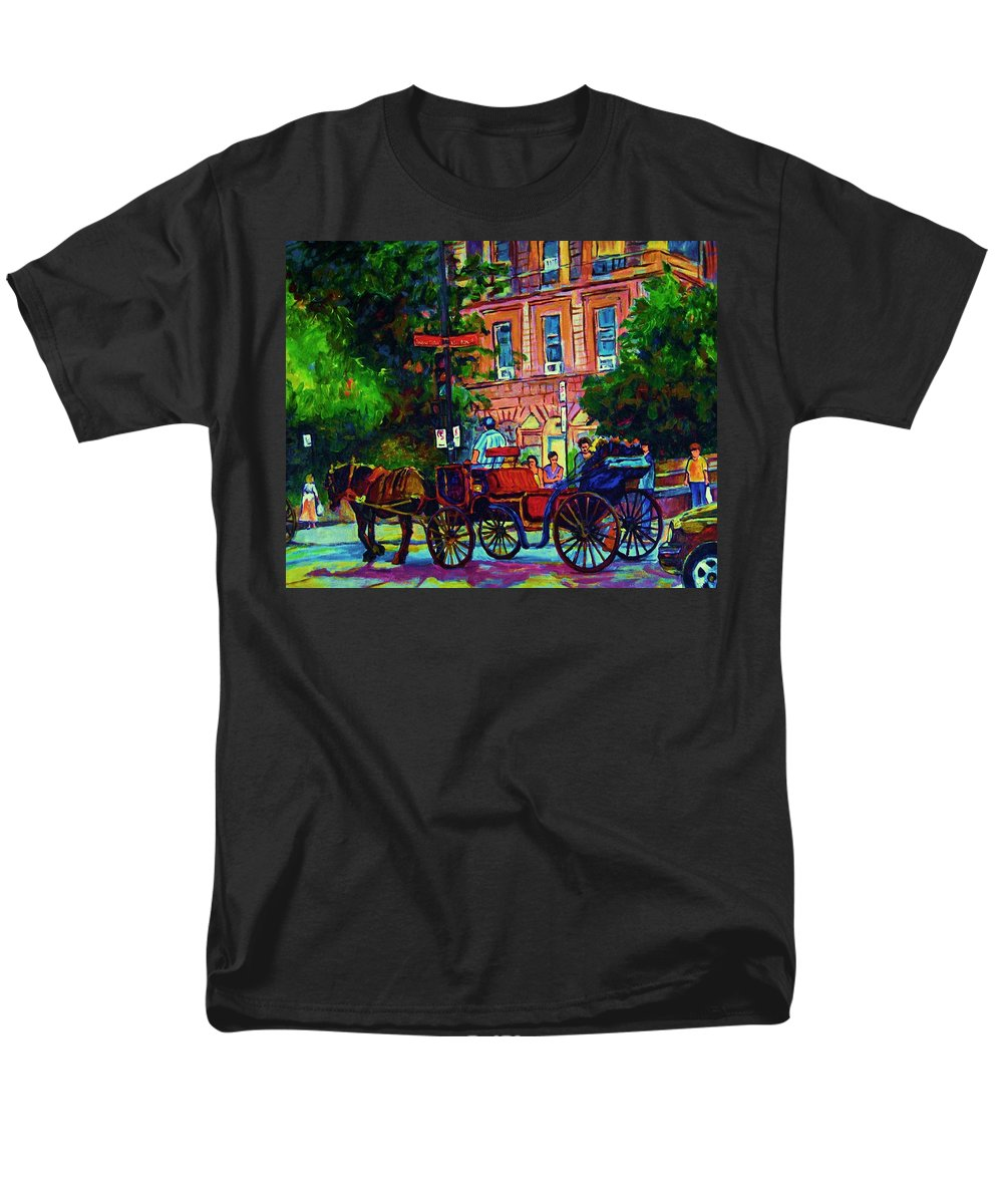 Rue Notre Dame Men's T-Shirt (Regular Fit) featuring the painting Horsedrawn Carriage by Carole Spandau