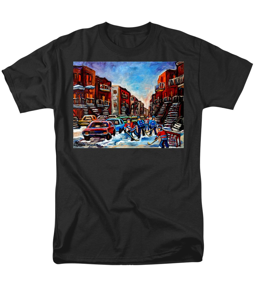 Montreal Men's T-Shirt (Regular Fit) featuring the painting Late Afternoon Street Hockey by Carole Spandau