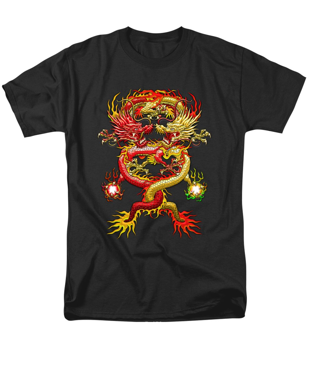 �treasures Of Asia� Collection By Serge Averbukh Men's T-Shirt (Regular Fit) featuring the photograph Brotherhood Of The Snake - The Red And The Yellow Dragons by Serge Averbukh