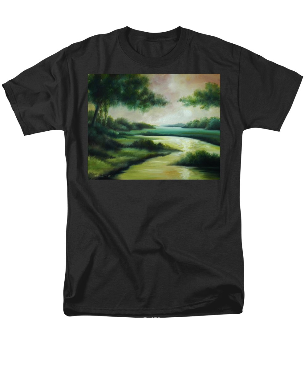 Bright Clouds; Sunsets; Reflections; Ocean; Water; Purple; Orange; Storms; Lightning; Contemporary; Abstract; Realism; James Christopher Hill; James Hill Studios; James C. Hilll; Forest; Flowers; Trees; Green; River; Water Men's T-Shirt (Regular Fit) featuring the painting Emerald Forest by James Christopher Hill