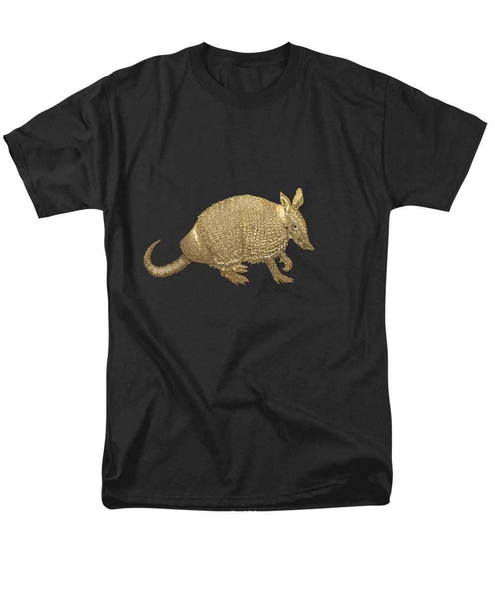 'beasts Creatures And Critters' Collection By Serge Averbukh Men's T-Shirt (Regular Fit) featuring the photograph Gold Armadillo On Black Canvas by Serge Averbukh